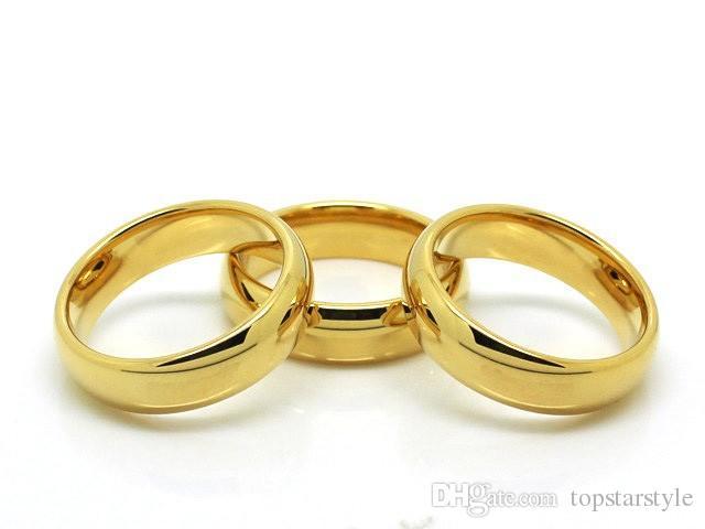 뜨거운 판매 패션 쥬얼리 반지 커플 IP 골드 텅스텐 반지 남성과 여성을위한 높은 폴란드어 클래식 쥬얼리 손가락 반지 4mm 너비
