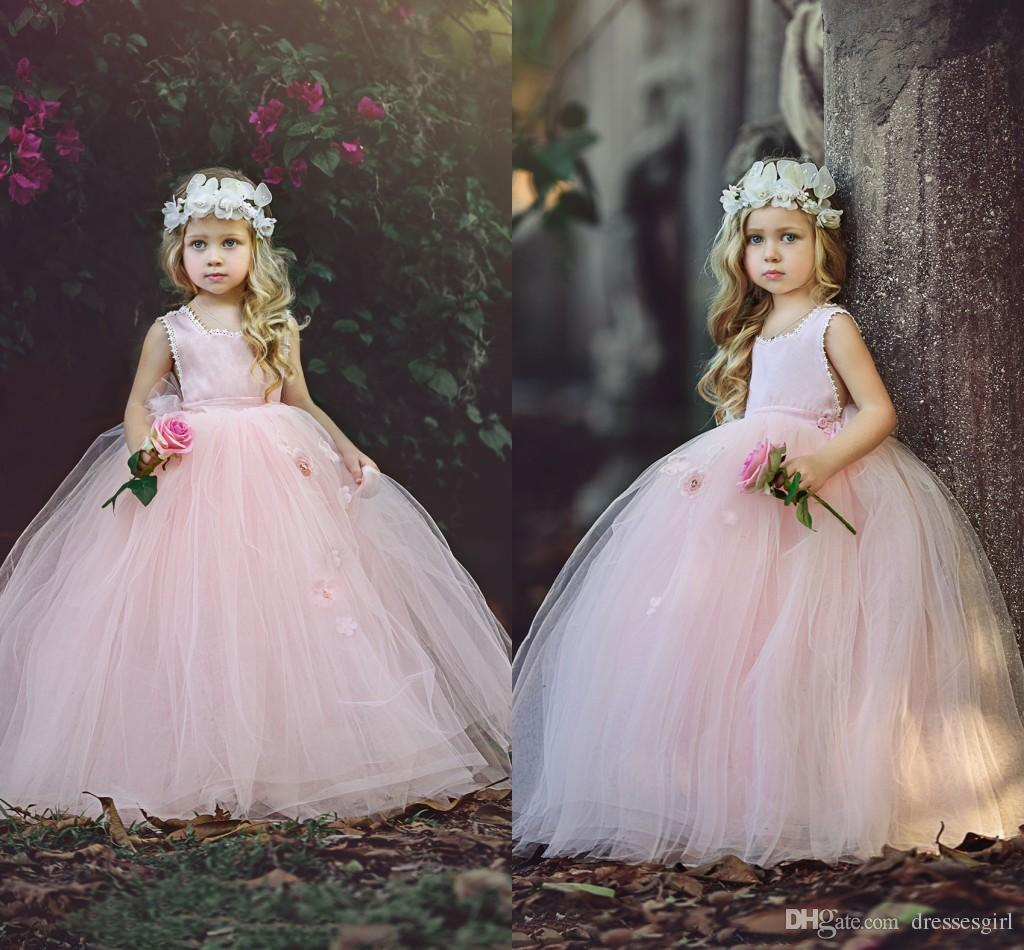 4781c400ff5 New Blush Pink Ball Gown Flower Girls Dresses 2018 Puffy Tulle Floor Length  First Communion Dresses Girls Pageant Gown Custom Made Cheap Baby Wedding  ...