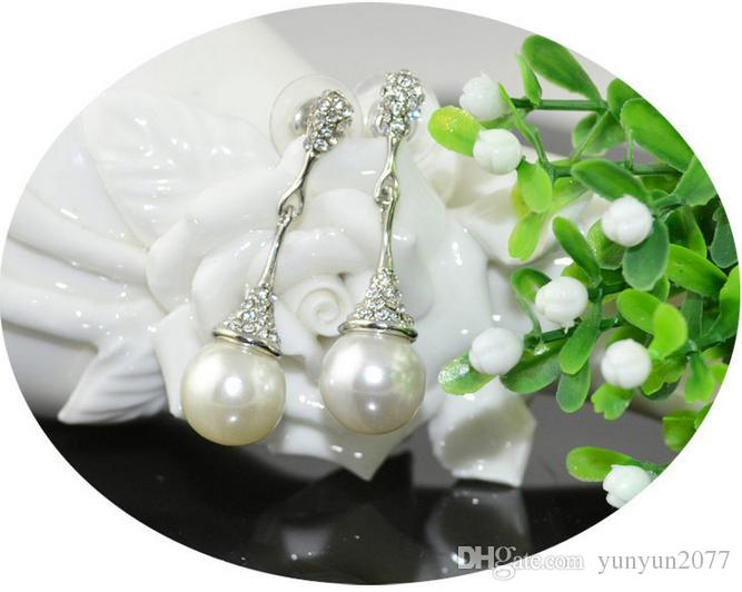 Fine Accessories Jewelry sets Pearls Rhinestones Bridal Wedding Chokers Chains Necklaces Pendant Charm Water Drop Dangle Earrings For Women