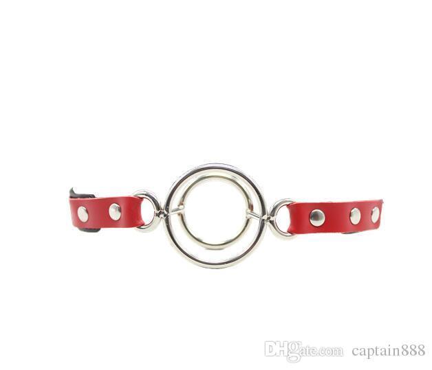 rouge / noir Spider Ring en cuir Fetish 2 / double anneaux Gag Ball en acier inoxydable bouche ouverte dispositif BDSM coup sex toy