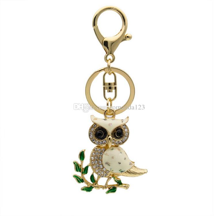 Owl Branch White Crystal Charm Purse Handbag Car Key Keyring Keychain Party Wedding Favor Birthday Gift DHL