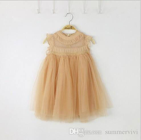 INS Girls princess dress classic children lace fly sleeve tulle dresses kids party clothing Ball Gown A7438