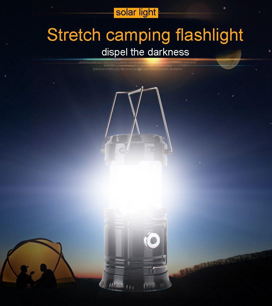 SH-5800T portátil Led Lanterna Solar Lanterna Camping 6LEDs recarregável lâmpada manual de emergência Tent Luz dobrável para iluminação exterior