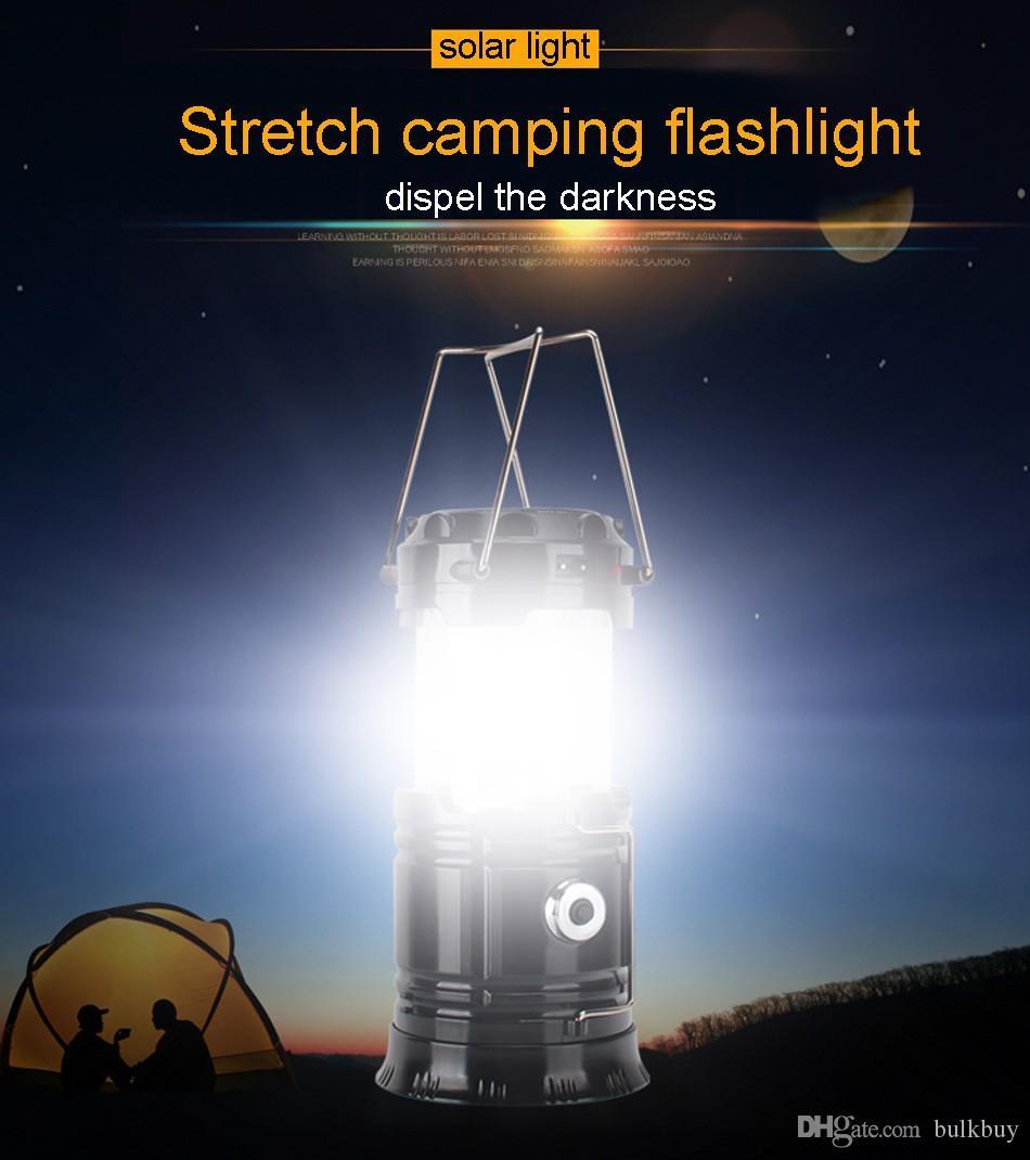 SH-5800T Portable lampe de poche LED Lanterne de camping solaire 6LEDs lampe rechargeable main d'urgence Tente d'éclairage pliable pour l'éclairage extérieur