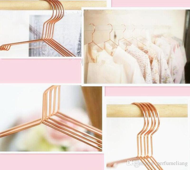 Multipurpose Dry Cleaning Brass Elegant Rose Gold Clothes Hanger Wire Copper Coat Hanger Antiskid Organizer ZA4690