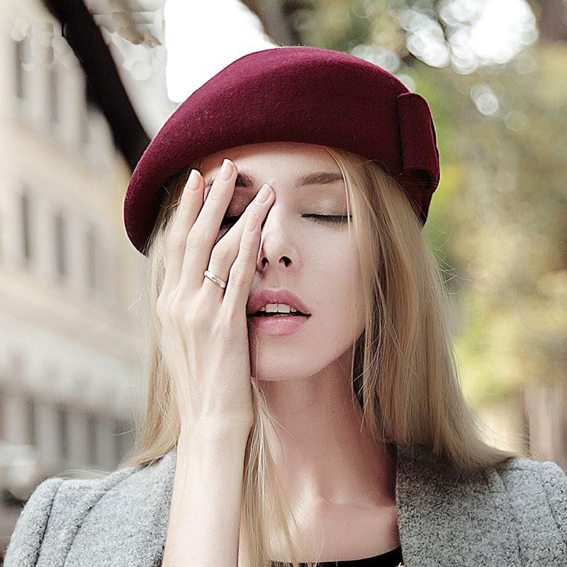 61f88e7c7 Wholesale- Classic Winter 100% Wool Hat Womens Warm French Art Basque Beret  Female Tam Wine Red Cap Felt Hat Elegant Baret for Girl Bow