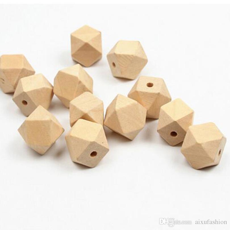 Cuentas de madera al por mayor 10 mm 12 mm 14 mm 16 mm 20 mm Cuentas de espaciador de madera geométrica inconclusa natural joyería DIY Collar de madera accesorios