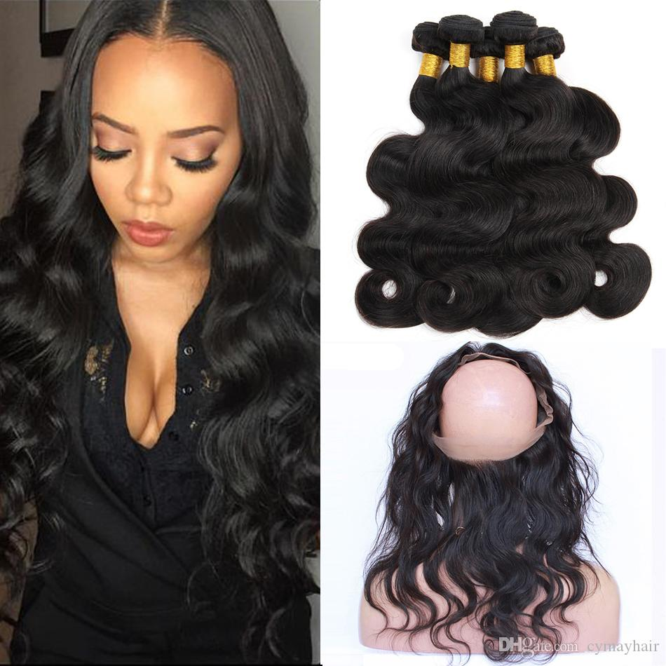 3/4 Bundles With Closure Hair Extensions & Wigs Alipearl Hair 360 Lace Frontal With Bundles Pre Plucked With Baby Hair Brazilian Hair Weave Straight Remy Hair With 360 Frontal High Quality And Inexpensive