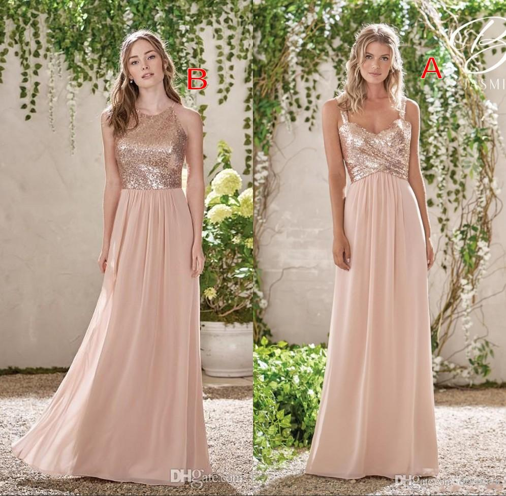 Cheap Rose Gold Bridesmaid Dresses Una línea de espaguetis Backless Sequins gasa Long Beach Wedding Gust damas de honor vestido de la dama de honor Vestidos