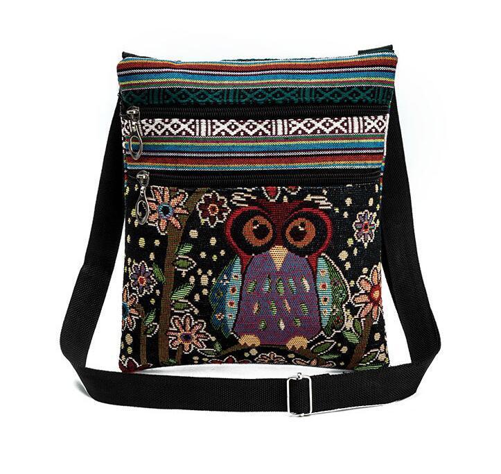 Hot Sale Cartoon Owl Print Messenger Bags Canvas Female Shoulder Bags Double Zipper Women Mini Flap Shoulder Handbags