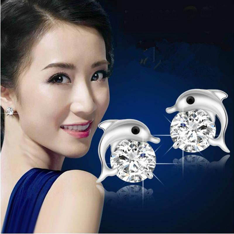 Lindo cristal olho golfinho CZ stud brincos de 925 jóias de prata esterlina das mulheres