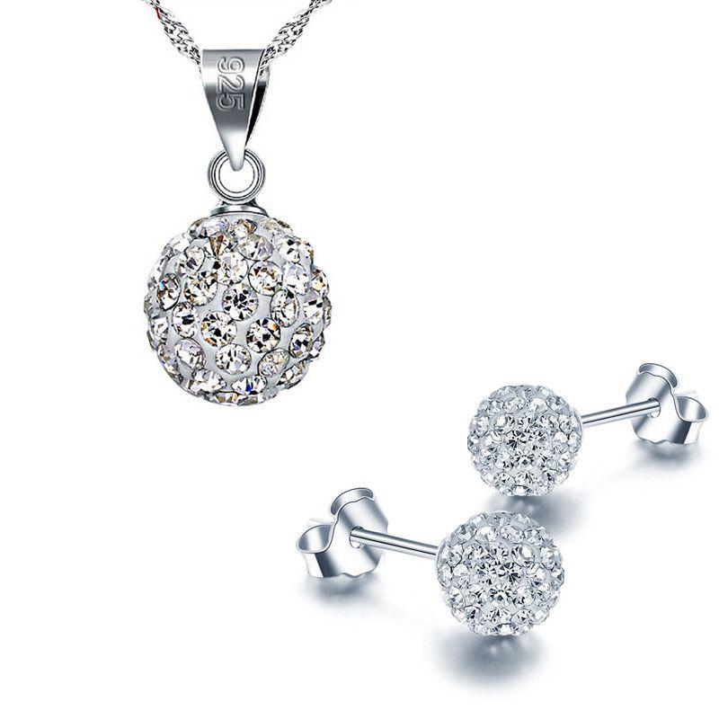 Fashion 925 Sterling Silver Shambala Ball Earrings Necklace Diamond Crystal Disco Beads Earrings Necklace Jewelry Set