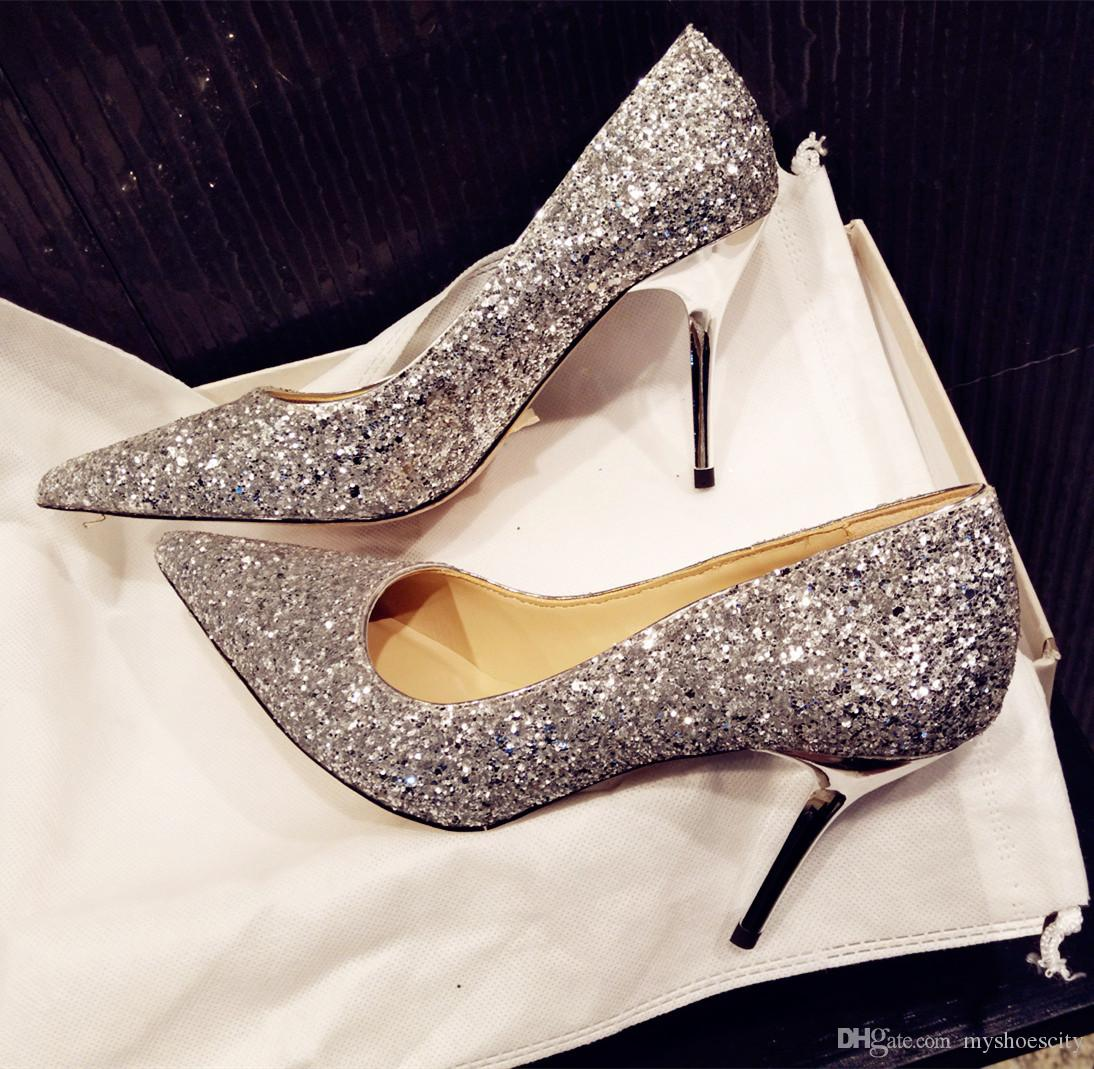 24627393f1da Size 33 To 41 Sexy High Heels Silver Sequined Wedding Shoes Pointoe Toe  Real Leather Shallow Mouth Party Prom Gown Dress Shoes Green Shoes Boots  Shoes From ...