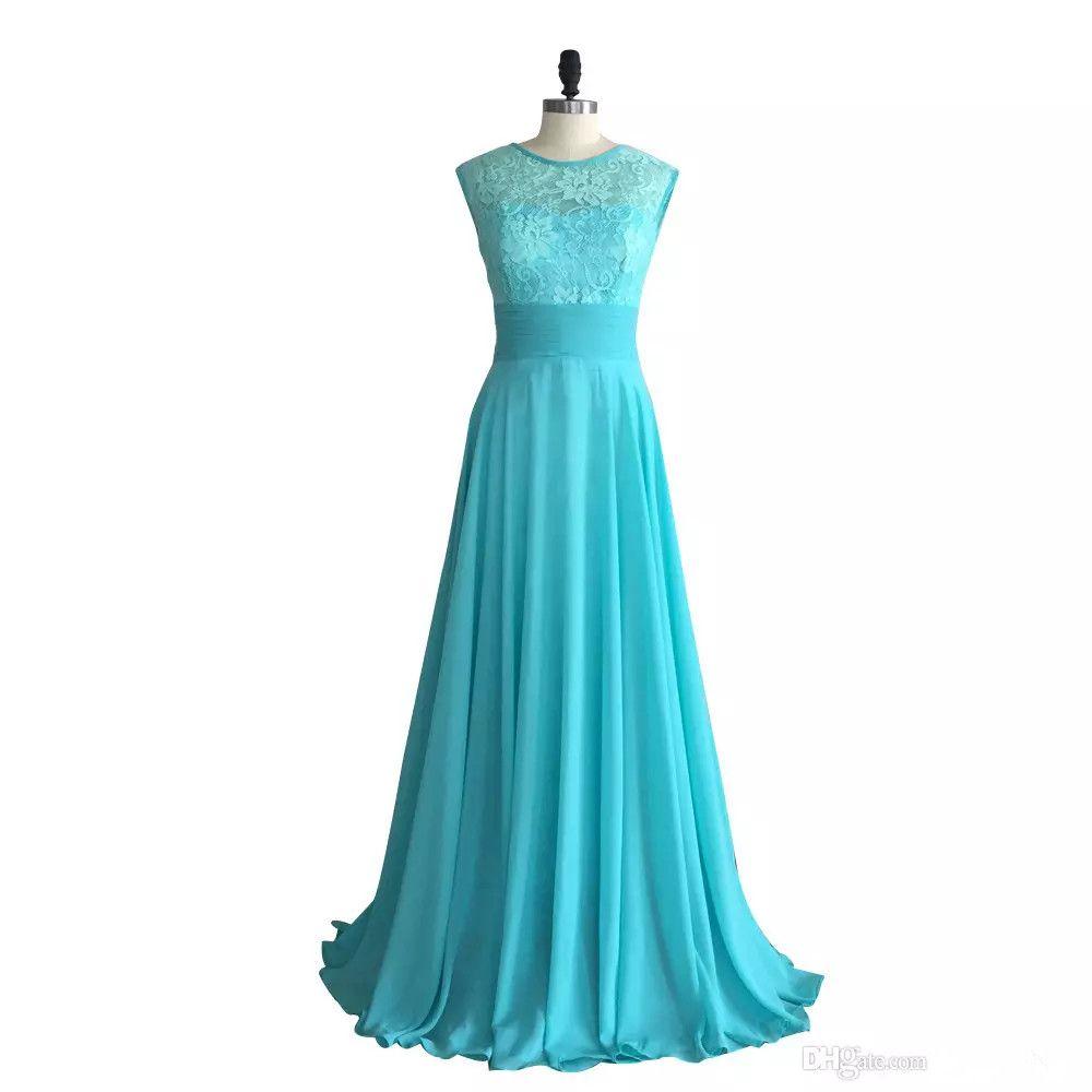 Turquoise Dentelle Mousseline De Demoiselle D'honneur Robe Longue 2019 Scoop Cou Pays Mariage Robes Formelles Robes De Soirée De Longueur