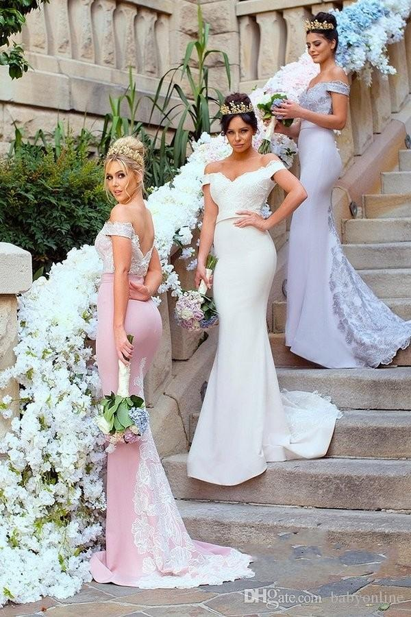 Elegant Stretchy Mermaid Bridesmaid Dresses Off Shoulders Lace Appliqued Sweep Train Bridesmaids Wedding Guest Gowns Custom Made