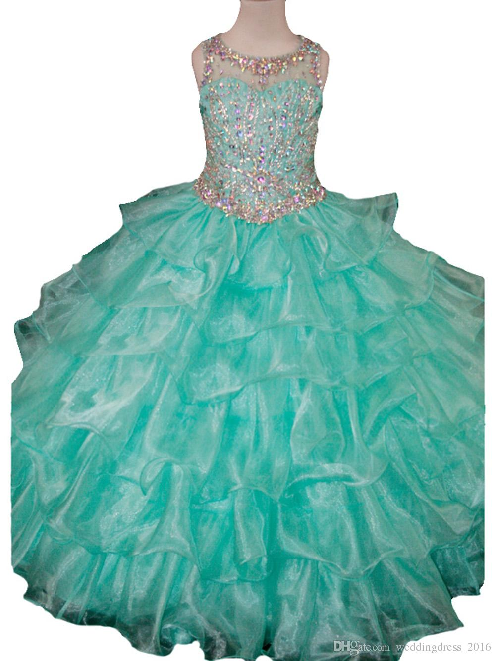 Luxury Crystal Cutom Made Little Girls Pageant Dresses Long Beads ...