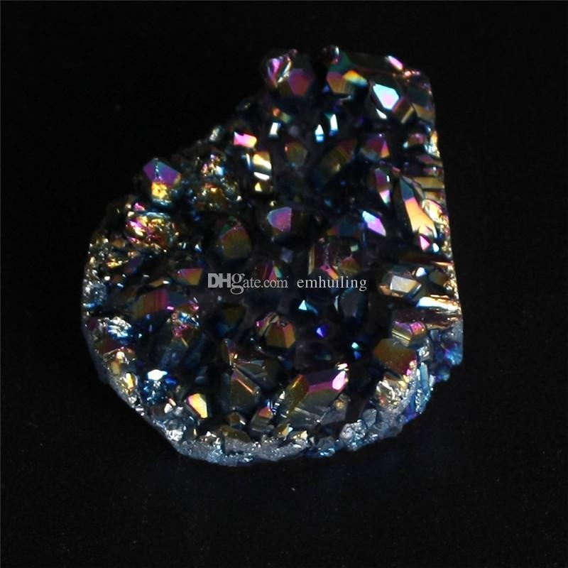 Freeform Blue Aura Natural Titanium Crystal Quartz Cluster Mystic Coated Mineral Rock Point Druzy Home Decor Drusy Geode Gemstone Specimen