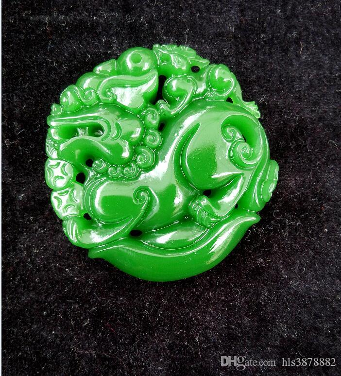CHINESE OLD HANDWORK GREEN STONE CARVED JADE KIRIN PENDANT A91S1A1