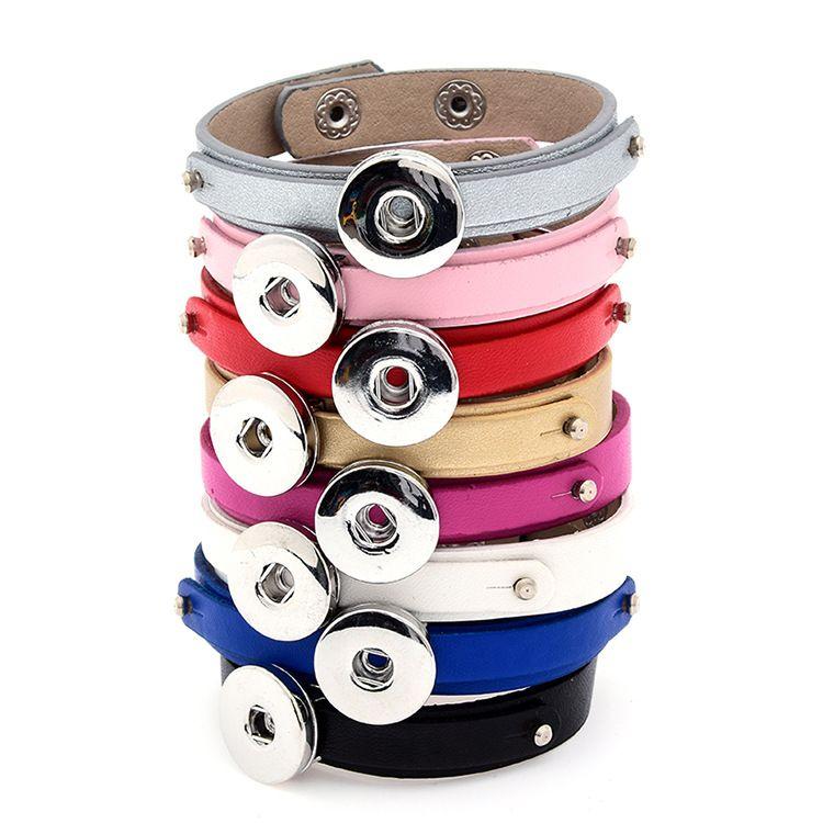 Pretty Snap Button Pulseras Moda NOOSA trozos Pulseras de cuero Ginger Snap Jewelry Charms Fit 18mm Noosa Chunk Snaps Jewelry