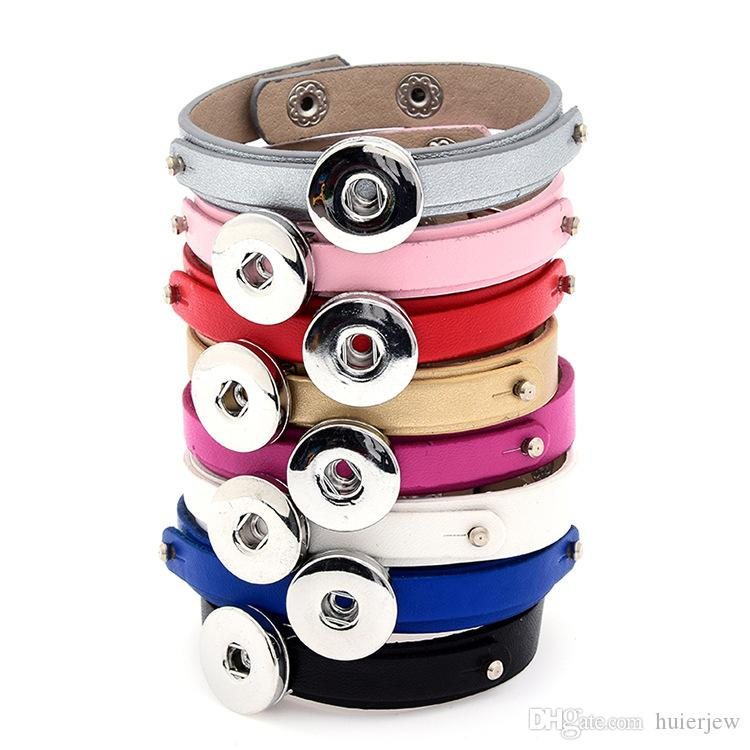 Pretty Snap Düğmesi Bilezikler Moda NOOSA topakları Deri Bilezik Zencefil Çırpıda Takı Charms Fit 18mm Noosa Chunk Snaps Takı