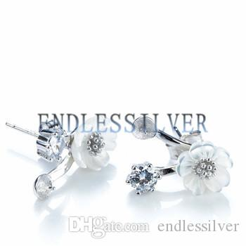 Earring Settings White Shell Flower Design 925 Sterling Silver DIY Mountings Jewellery Findings for Pearl Party