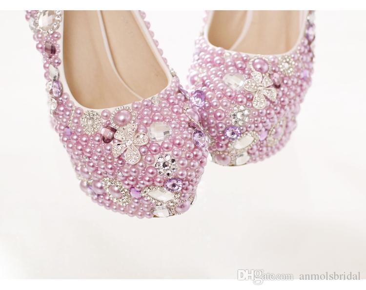 Purple Silver Crystal Cendrillon Chaussures avec Perles De Mariée Demoiselle D'honneur Chaussures De Mariage 2017 Prom Soirée Soirée Club Party Super Talons