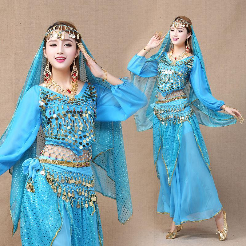 Fashion Belly Indian Dance Costumes 6PCS (Skirt+Top+Belt+Veil+2 Nail Bracelets) Stage Performing Dress Bellydance Dancing Wear