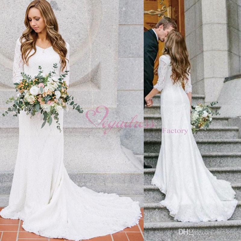 2017 Vintage Modest Country Wedding Dress With Full Lace 3 4 Long Sleeves Bohemian Dresses 2016 Boho Bridal Gowns Custom Made Mermaid Cut