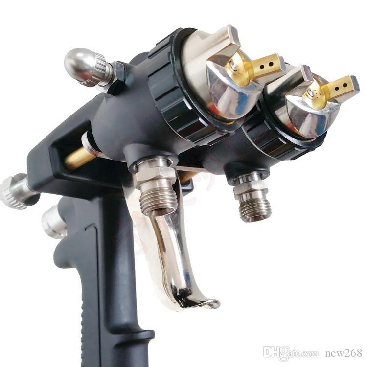 Dupla cabeça nano pistola de pintura cromada quente em vendas duplo bocal pistola