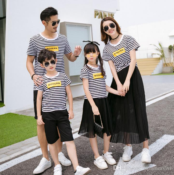 0c3b88446c3e Lovers Suits Mother Girl Stripe Shorts T-shirt+ruffle Chiffon Skirt ...