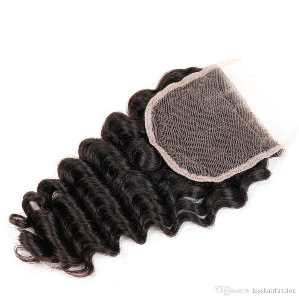 Capelli brasiliani onda profonda con chiusura 3 pacchi con chiusura in pizzo marrone naturale peruviano indiano malese ricci capelli umani vergini