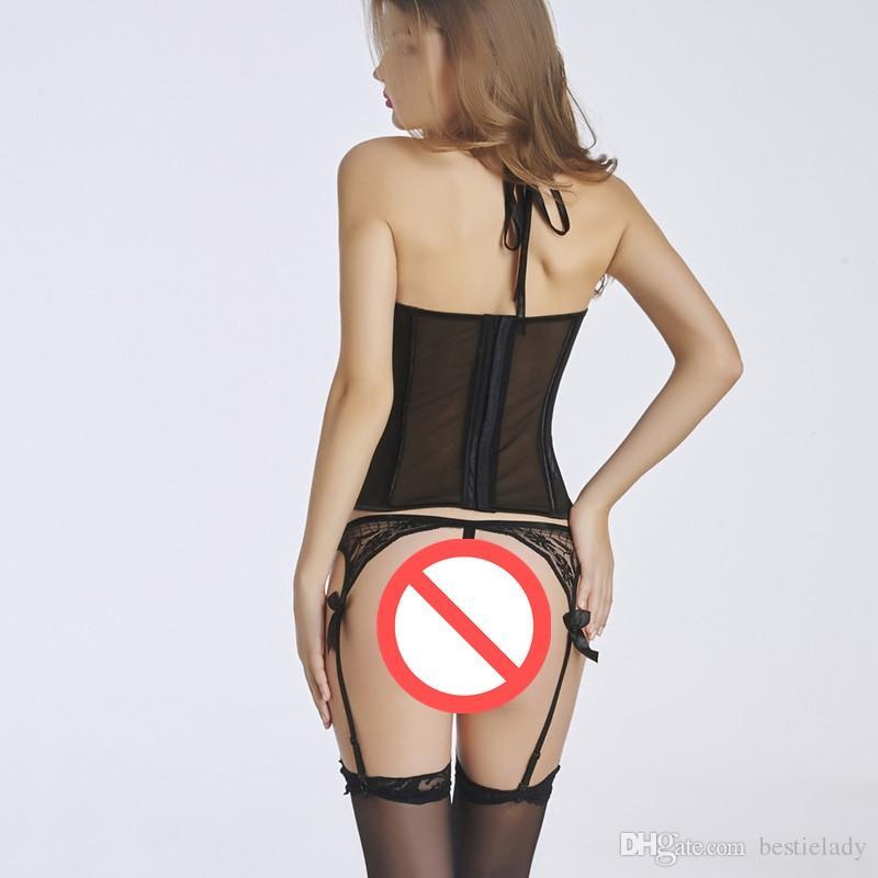 Lingerie sexy noire en dentelle florale noire pour femmes, comme ceinture