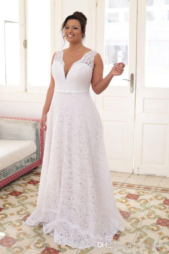 plus size wedding dresses 2017 white lace sexy deep v neck bridal gowns with sash bow