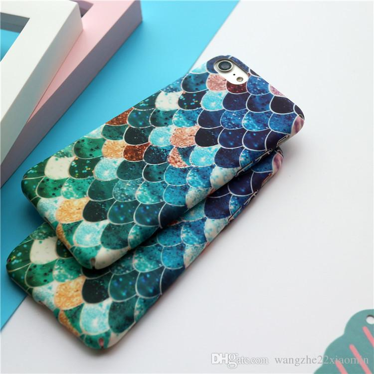 Wholesale Cute Colorful Paniting Hard PC Fish Scale Case for iPhone 7 7 Plus with Retail Universal Packaging Bag