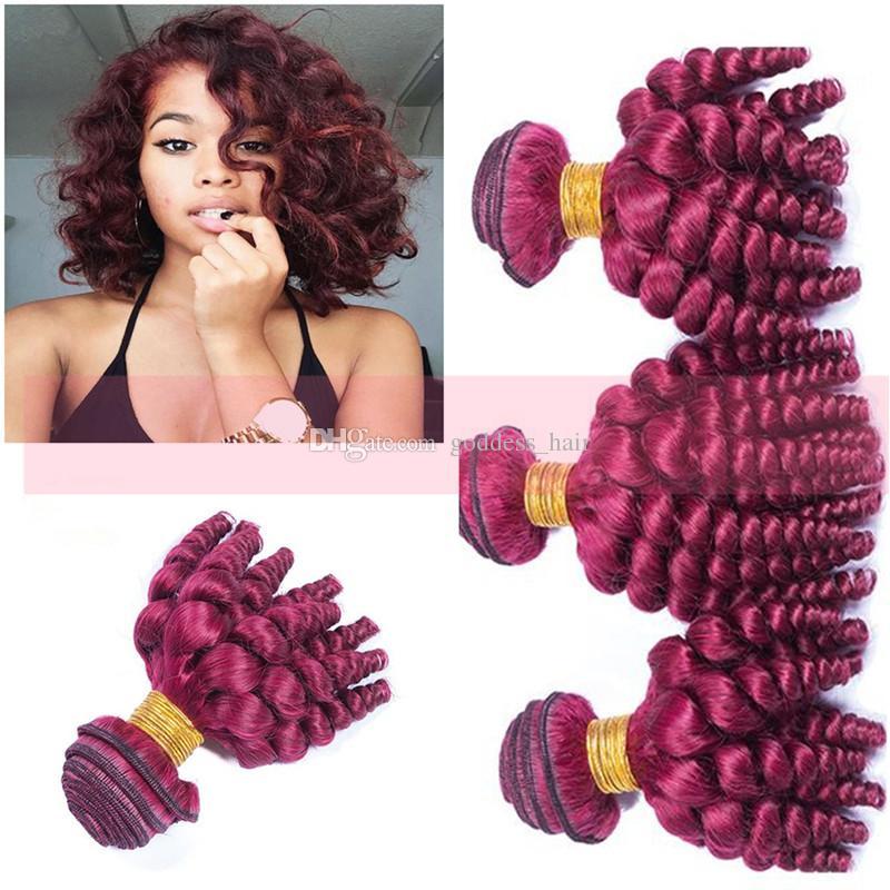 Neue Ankunft Peruanische Jungfrau Funmi Burgundy # 99j Günstige Menschliches Haar spinnt 8-30 zoll Weinrot Romantik Locken Haareinschlagfaden für Frau