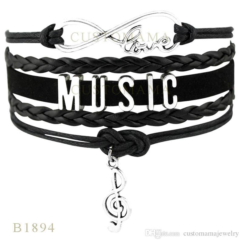Personnalisé-Infinity Amour Note De Musique Charme Wrap Bracelets Cadeaux De Noël Femmes Mode Bracelets Noir Bleu Wax Suede Cuir Bracelets