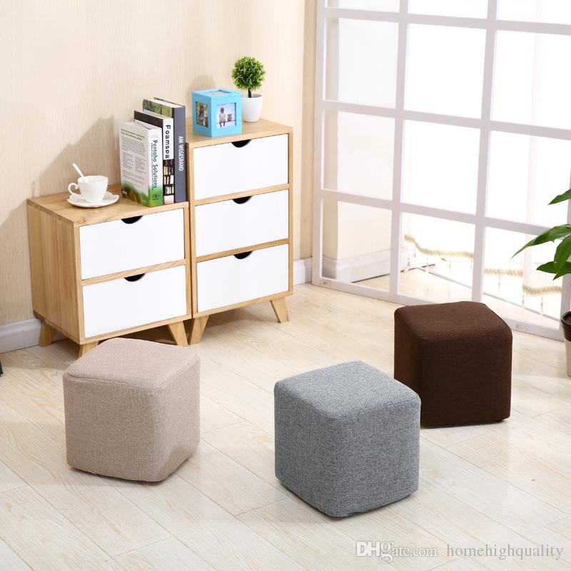 2018 new cloth small square stool cotton and linen fashion solid wood stool creative living room