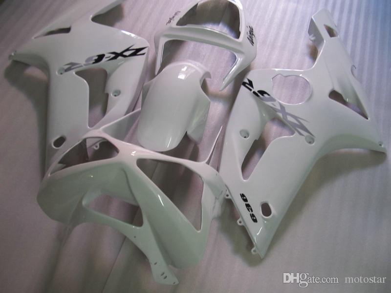 Injection mold ABS plastic fairings for Kawasaki ninja ZX6R 03 04 white fairing set zx6r 2003 2004 OT35