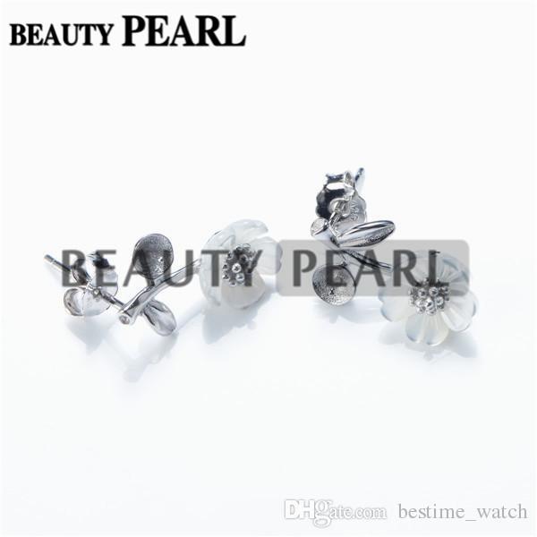 HOPEARL Jewelry Earring Settings White Shell Flower Earring Semi Mount 925 Sterling Silver Findings