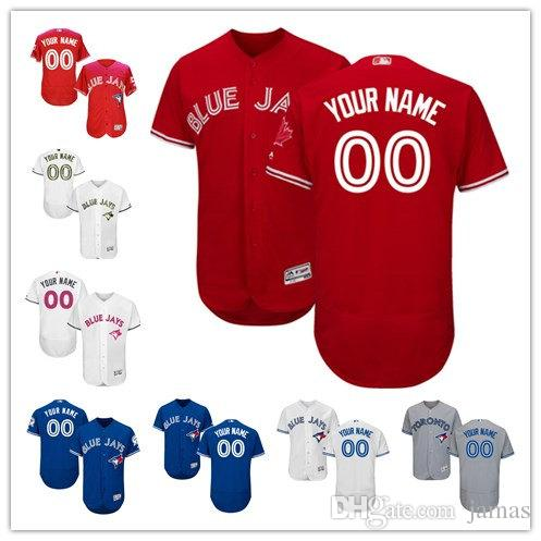 893abd593 ... Baseball Jersey 2017 Men Youth Toronto Blue Jays Customized Any Name  Any Number Blue White Red Grey Flexbase ...