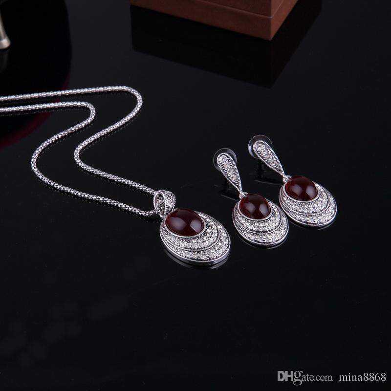 Vintage Red Imitation Gem Oval Jewelry Set Women Vintage Alloy Pendant Necklace Earrings Bridals Turkish Jewelry sets Wholesale
