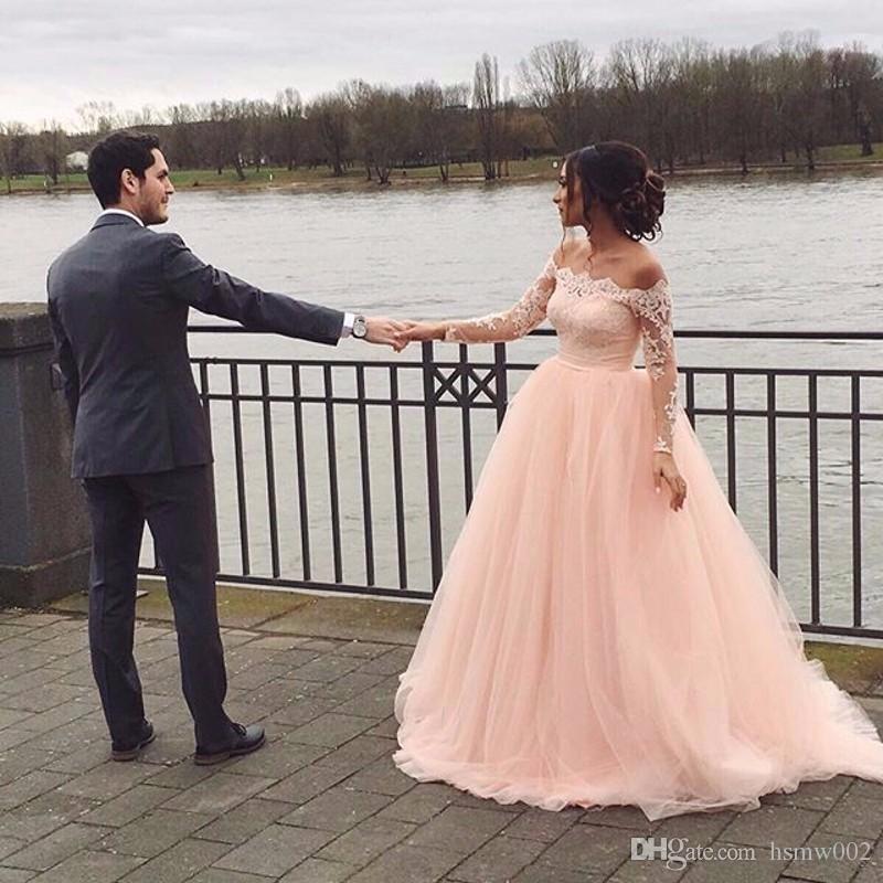 Старинные лодка шеи линии свадебное платье выпускного вечера розовые кружева аппликации суд поезд полный рукава розовый вечерние платья