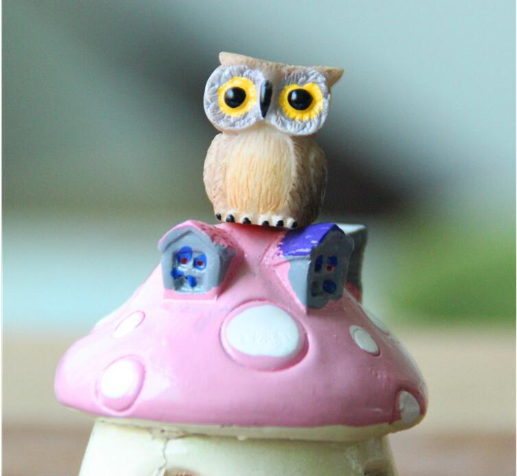 Artificielle Mini Hibou Mignon Oiseaux Poupées Fée Jardin Miniatures Gnome Mousse Terrarium Décor Résine Artisanat Bonsaï Décoration d'intérieur pour le bricolage