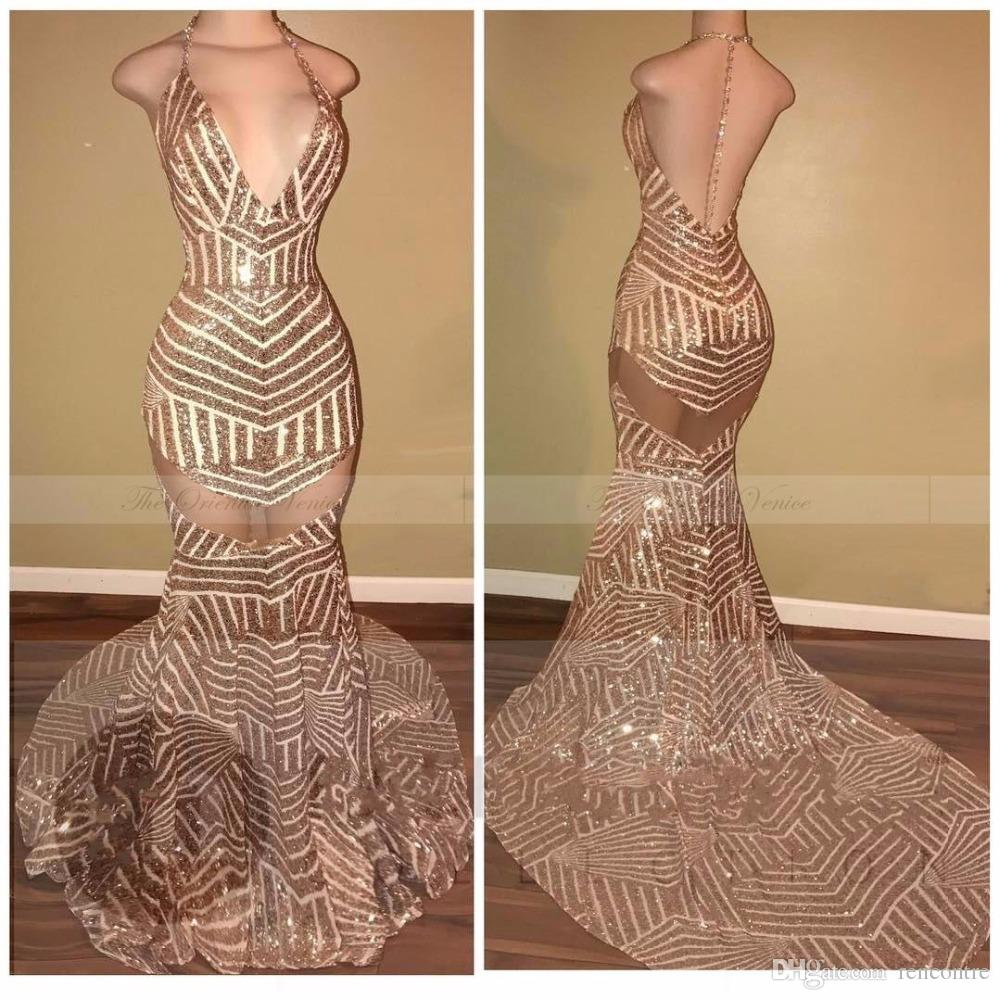 Rose Gold Prom Silvers: Rose Gold Sequined Halter Neck Sheer Mermaid Backless Prom