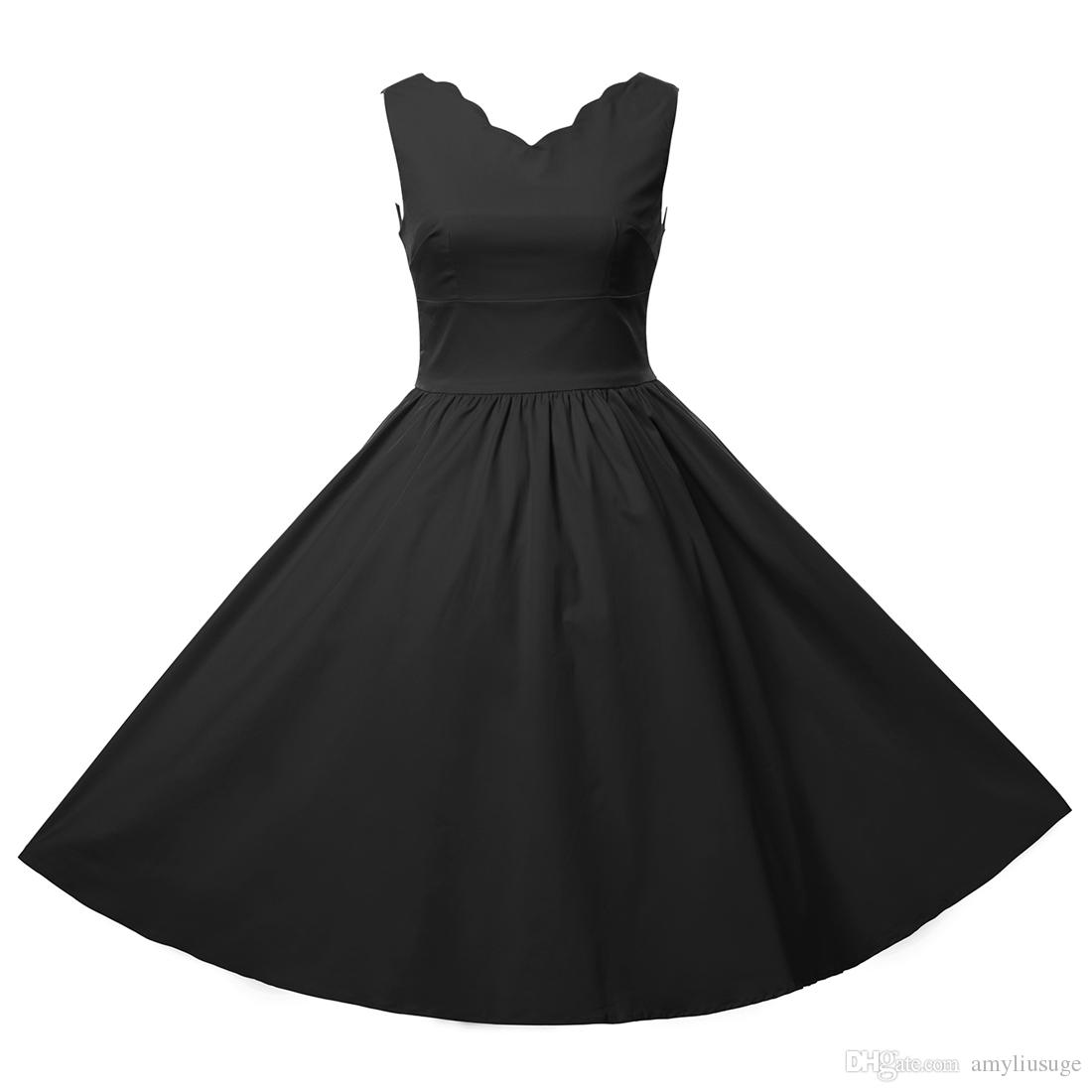 4261764340 Free shipping Women Vintage 1950S Wave Neck Swing Rockabilly Skaters Swing  Dresses Cocktail Party dress FYV083