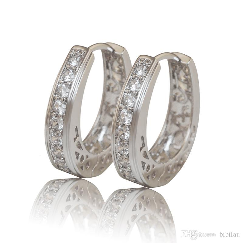 384E Hoop Earrings Jewelry White Gold Filled Women Hollow Style Clear Stone Top Quality