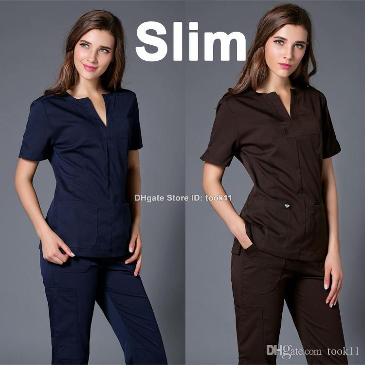 49951f9477c 2019 Wholesale Bulk Order Summer Uniformes Hospital Women Medical Clothing  Nursing Scrubs Clothes Set Dental Clinic Beauty Salon Nurse Slim From  Took11