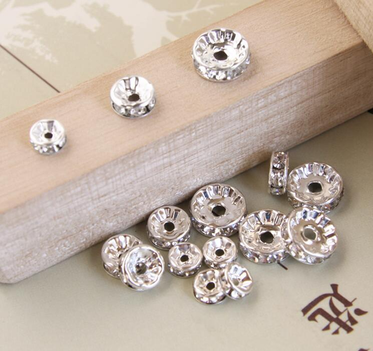 6MM Clear Rhinestone Beads 루스 비즈 스페이서 DIY 브레이슬릿 목걸이 비즈 액세서리 라인 석 DIY 스페이서 신규