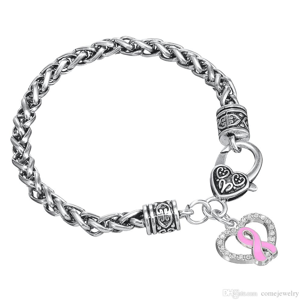 Popular Style Antique Silver Plated Hollow Heart Shape Pink Ribbon Pendant Bracelet Jewelry