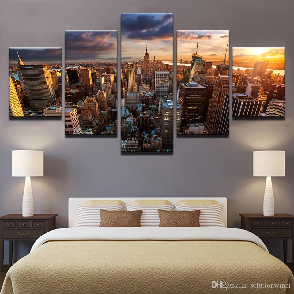 5 Teile / satz Gerahmte Gedruckt New York City Gebäude Sonnenuntergang Landschaft Poster Moderne Home Decor Leinwandbild Kunst HD Drucken Malerei